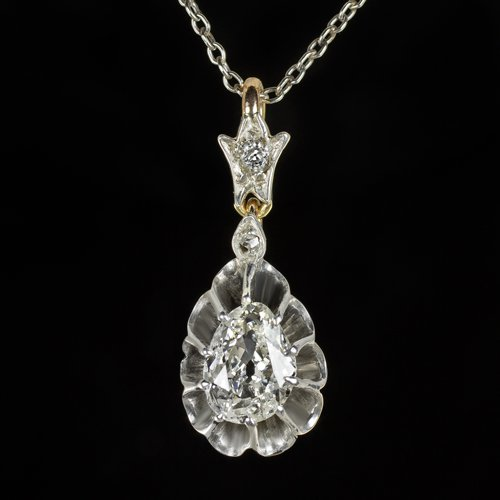 RARE ANTIQUE 1.15 CARAT OLD CUT PEAR SHAPE DIAMOND 1900 NECKLACE PENDANT VINTAGE