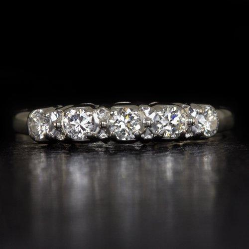1940 VINTAGE WWII ERA G-H VS DIAMOND WEDDING BAND COCKTAIL RING PALLADIUM RETRO