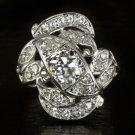VINTAGE 1 CARAT OLD EUROPEAN CUT 0.68 DIAMOND RETRO COCKTAIL RING BIG WHITE GOLD