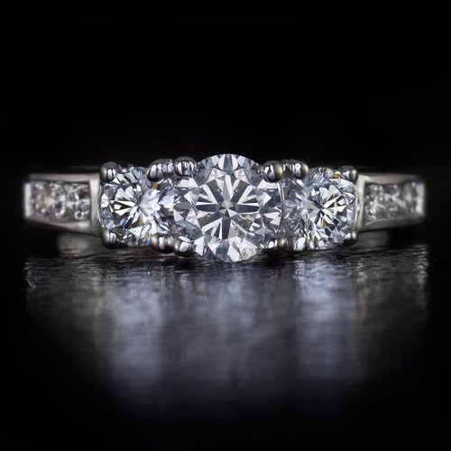 1 CARAT IDEAL EX CUT THREE 3 STONE ROUND DIAMOND ENGAGEMENT RING 14K WHITE GOLD