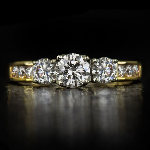 IDEAL CUT 1ct ROUND HEARTS & ARROW DIAMOND 3 STONE ENGAGEMENT COCKTAIL RING GOLD