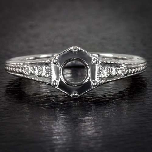 ART DECO ROUND CUSHION DIAMOND SEMI-MOUNT FILIGREE ENGRAVING ENGAGEMENT RING 14K