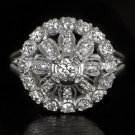 VINTAGE 1.30ct  DIAMOND PLATINUM FINE BALLERINA ANTIQUE COCKTAIL RING ART DECO