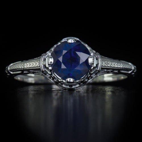 1920S VINTAGE NOUVEAU ROUND 1 CARAT BLUE SAPPHIRE FILIGREE FINE RING SOLITAIRE