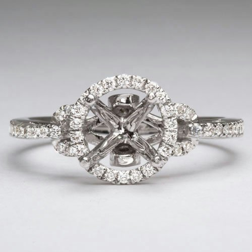 DIAMOND SEMI-MOUNT ROUND HALO ENGAGEMENT RING DESIGNER PAVE SETTING PRONG 1CT 7M
