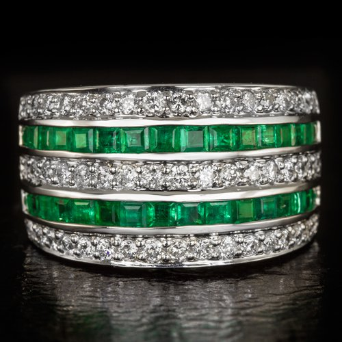 2.15ct DIAMOND NATURAL EMERALD COCKTAIL RING WHITE GOLD 17 GRAMS BIG WIDE BAND