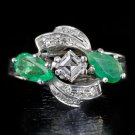 VINTAGE E VVS2 DIAMOND 1.75CTW NATURAL EMERALDS COCKTAIL RING WHITE GOLD RETRO