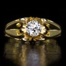 ORG VINTAGE OLD EURO CUT DIAMOND 0.65 F SI2 SOLITAIRE ENGAGEMENT RING GYPSY GOLD