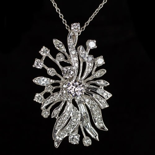3.35c VINTAGE ART DECO DIAMOND PENDANT 1ctr WHITE GOLD FILIGREE NECKLACE ANTIQUE