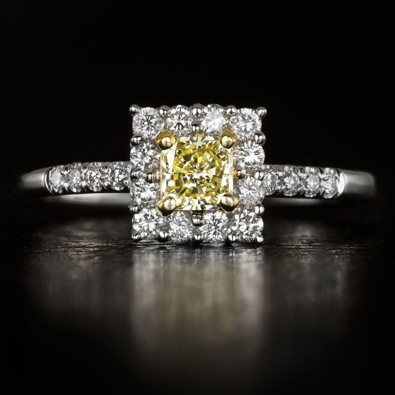 FANCY YELLOW RADIANT CUT DIAMOND SQUARE HALO ENGAGEMENT RING EGL-USA CERTIFIED