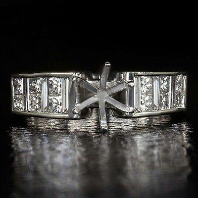1ct DIAMOND SEMI-MOUNT ENGAGEMENT RING SETTING PRINCESS CUT ROUND CUSHION 18K WG