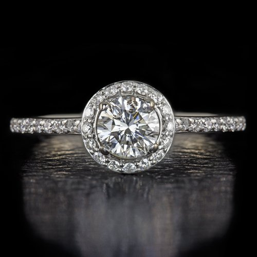 EXCELLENT CUT ROUND DIAMOND CLASSIC HALO ENGAGEMENT RING 14K WHITE GOLD 3/4ct