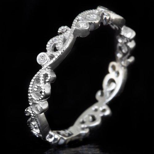 ART DECO G-H VS DIAMOND PLATINUM WEDDING BAND FILIGREE VINTAGE FLORAL RETRO RING