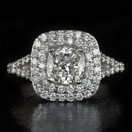 2.31ct GIA CERTIFIED CUSHION CUT DIAMOND DOUBLE HALO ENGAGEMENT RING WHITE GOLD