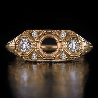 VINTAGE DIAMOND 5MM 1/2CT ROUND SEMI-MOUNT 3 STONE ENGAGEMENT RING 14K ROSE GOLD