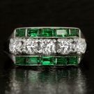 VINTAGE IDEAL CUT 1ct F-G VVS DIAMONDS COCKTAIL RING EMERALD BAGUETTE ART DECO