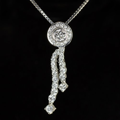 IDEAL CUT 2 CARAT DIAMOND HALO PENDANT LARIAT NECKLACE VINTAGE OLD EUROPEAN CUT