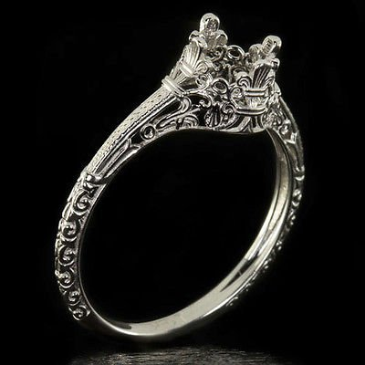VINTAGE PLATINUM ENGAGEMENT RING SETTING ART NOUVEAU ROUND SOLITAIRE ENGRAVED