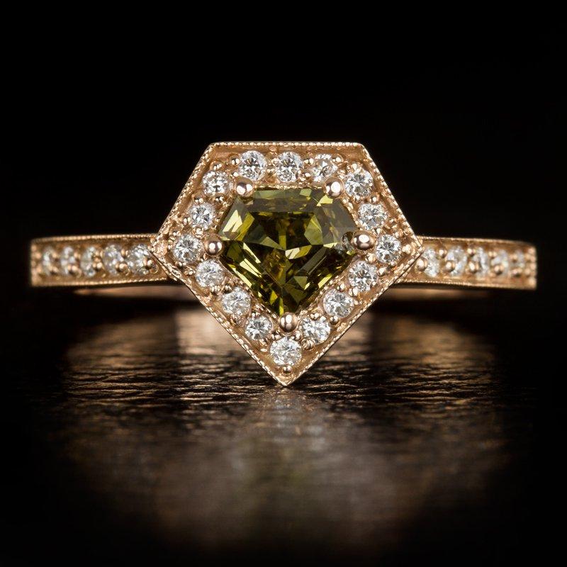 NATURAL FANCY GREEN DIAMOND SUPERMAN CUT HALO COCKTAIL RING 14K ROSE GOLD CUSTOM