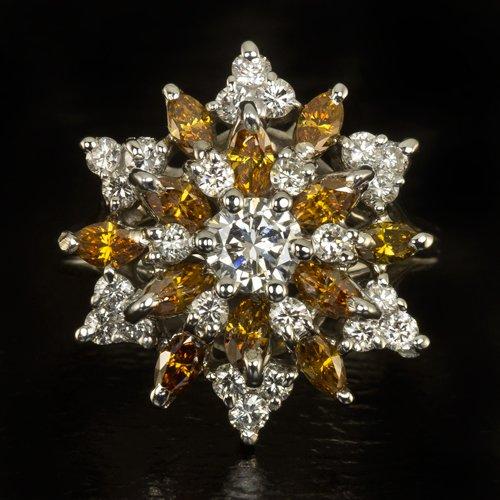 VINTAGE 2 CARAT F VS CTR RARE ORANGE DIAMONDS BALLERINA COCKTAIL RING WHITE GOLD
