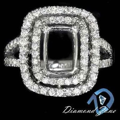 DIAMOND RADIANT EMERALD CUT SEMI-MOUNT SETTING ENGAGEMENT RING 14K 2 ROW HALO