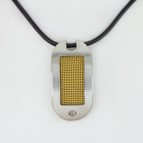 NATURAL .08CT DIAMOND PENDANT YELLOW GOLD DOG TAG NECKLACE CHAIN MENS STEEL SS