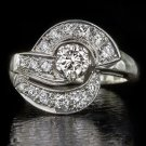 TRUE VINTAGE 1.20ct IDEAL CUT H VS DIAMOND ENGAGEMENT COCKTAIL RING RETRO 14K WG