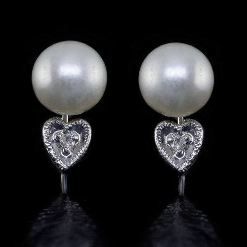 VINTAGE PEARL H SI DIAMOND EARRINGS NON-PIERCED HEART 14K WHITE GOLD RETRO CLIP
