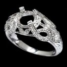 VINTAGE SETTING DIAMOND ART DECO SWIRL DESIGN SEMI-MOUNT ENGAGEMENT RING 14K WG