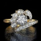 H VS VINTAGE DIAMOND COCKTAIL RING 1/2 CARAT 14K YELLOW GOLD RETRO MIDCENTURY