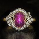 ANTIQUE 3.40ct STAR RUBY NATURAL AGL CERTIFIED DIAMOND VINTAGE COCKTAIL RING