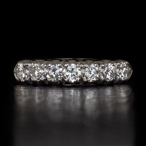1930s G VS OLD EUROPEAN CUT DIAMOND PLATINUM VINTAGE WEDDING BAND COCKTAIL RING