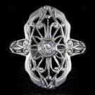 1900s VINTAGE DIAMOND FILIGREE COCKTAIL RING ART DECO NOUVEAU ANTIQUE WHITE GOLD