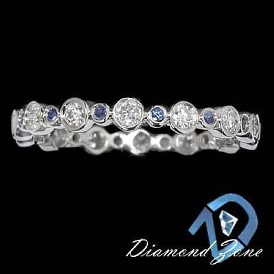 BLUE SAPPHIRE RING DIAMOND BEZEL WEDDING ETERNITY BAND