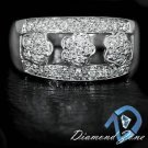NATURAL DIAMOND F-G VS-SI1 WIDE BAND 14K WHITE GOLD COCKTAIL LADYS RING 3 FLOWER