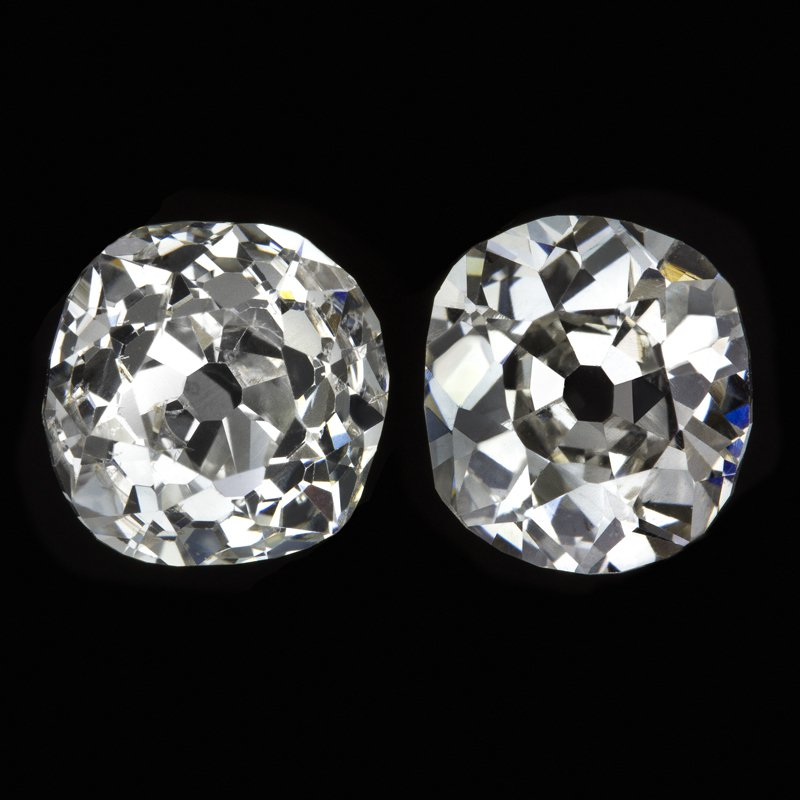 1.69ct ANTIQUE OLD MINE CUSHION CUT DIAMOND STUD EARRINGS MATCHING PAIR VINTAGE