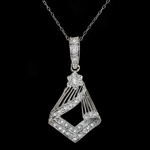 VINTAGE ART DECO DIAMOND PENDANT GEOMETRIC NECKLACE ANTIQUE WHITE GOLD 18K CHAIN