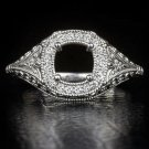 DIAMOND SEMI-MOUNT ART DECO ENGAGEMENT COCKTAIL RING ROUND CUSHION FILIGREE 6.5m