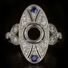 EDWARDIAN G VS ROUND DIAMOND NATURAL SAPPHIRE PLATINUM ENGAGEMENT RING SETTING