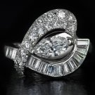 2ct IDEAL CUT MARQUISE E Si1 DIAMOND ROUND BAGUETTE COCKTAIL RING PLATINUM 8 GMS