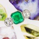 3ct ANTIQUE OLD MINE CUT DIAMONDS EMERALD 3 STONE ENGAGEMENT RING 18K PLATINUM