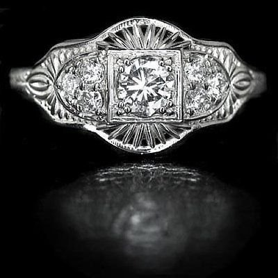 0.40ct DIAMOND FILIGREE ESTATE RING VINTAGE 20s ART DECO ANTIQUE STYLE ENGRAVING