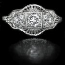 0.40ct DIAMOND FILIGREE ESTATE RING VINTAGE 20s ART DECO ANTIQUE STYLE ENGRAVING