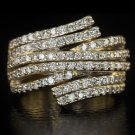 1.50ct ROUND NATURAL DIAMOND COCKTAIL RING 14K YELLOW GOLD 10 GRAM BIG ROW BAND