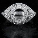 ROUND VINTAGE ART DECO DIAMOND 4.5MM EDWARDIAN SETTING SEMI MOUNT RING FILIGREE