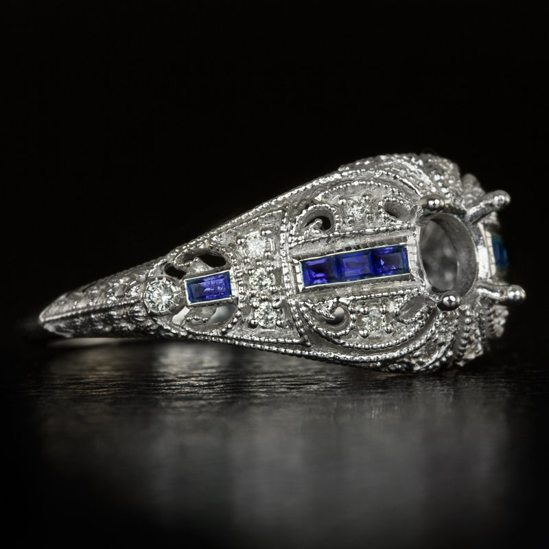 DIAMOND SAPPHIRE VINTAGE ENGAGEMENT RING SETTING ROUND SEMI MOUNT 5mm 5.5mm DECO