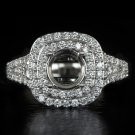 1.25ct DIAMONDS ROUND CUSHION CUT SEMI-MOUNT SETTING ENGAGEMENT RING 2 ROW HALO
