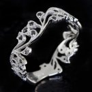 VINTAGE BLACK DIAMOND 14K WHITE GOLD ANTIQUE STYLE BAND COCKTAIL RING FILIGREE
