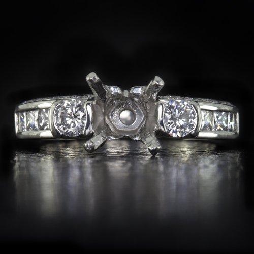 1ct EX CUT ROUND DIAMOND G VS ENGAGEMENT RING SETTING PLATINUM PRINCESS CUSHION
