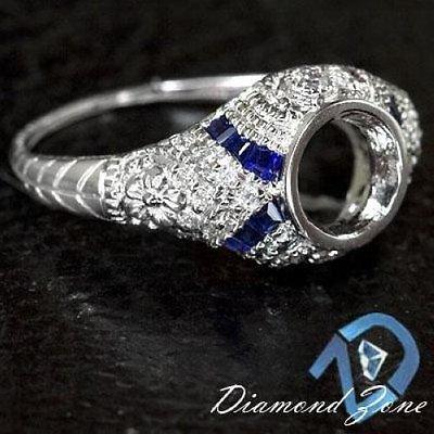 ENGRAVED SEMI MOUNT DIAMOND BLUE SAPPHIRE ART DECO SETTING BEZEL ENGAGEMENT RING